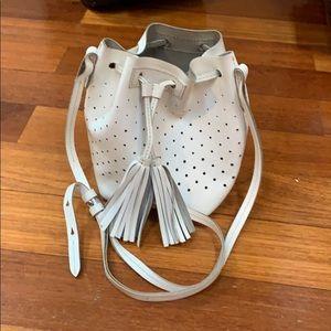 Jcrew white leather crossbody bucket bag